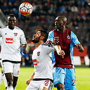 Trabzonspor's Stephane Mbia (R) during their Turkish Super League match Trabzonspor between Gaziantepspor at the Avni Aker Stadium at Trabzon Turkey on Wednesday, 28 October 2015. Photo by Aykut AKICI/TURKPIX