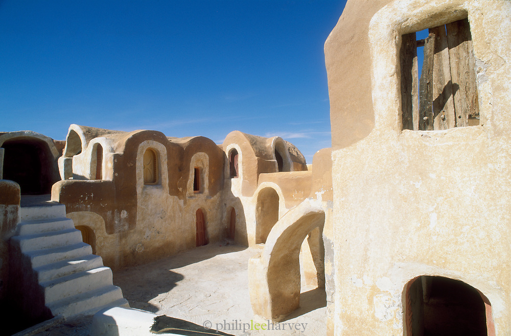 Ghorfas, a Berber term for a vaulted structure used for storing grain, in the village of Matmata in the south of Tunisia