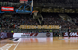 December 19, 2017 - Athens, Greece - Solidarity movent in Greece hold a banner reading 'Freedom to Palestine' during the Euroleague basketball game between Panathinaikos Superfoods Athens and Maccabi Fox Tel Aviv in Athens, Greece, 19 December 2017. (Credit Image: © Dimitris Lampropoulos/NurPhoto via ZUMA Press)