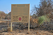 Burnt nature reserve. The fire damage caused by Kite bombs that were flown from Gaza with a lit petrol soaked cloth, to set fires to Israeli fields and crops. Photographed on September 09, 2018