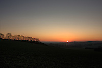 Sun sets on a very cold January afternoon in Hampshire, England, UK