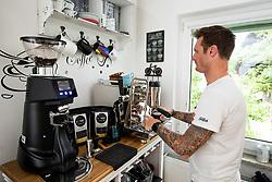 Rider Grega Bole making coffee at his home, on June 4, 2021, in Bled, Slovenia.  Photo by Grega Bole