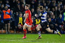 Bristol United Winger George Watkins beats Bath United Inside Centre Rory Jennings - Mandatory byline: Rogan Thomson/JMP - 28/12/2015 - RUGBY UNION - The Recreation Ground - Bath, England - Bath United v Bristol United - Aviva A League.