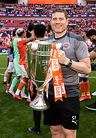 Blackpool coach<br /> <br /> Photographer Andrew Kearns/CameraSport<br /> <br /> The EFL Sky Bet League One Play-Off Final - Blackpool v Lincoln City - Sunday 30th May 2021 - Wembley Stadium - London<br /> <br /> World Copyright © 2021 CameraSport. All rights reserved. 43 Linden Ave. Countesthorpe. Leicester. England. LE8 5PG - Tel: +44 (0) 116 277 4147 - admin@camerasport.com - www.camerasport.com