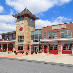 Hershey, PA / USA - May 21, 2018: The Hershey Volunteer Fire Department station is located in the downtown area.