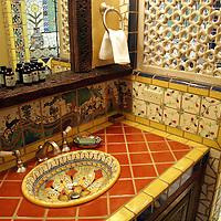 North America, USA, New Mexico, Santa Fe. Bathroom at Inn of Five Graces