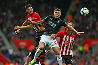 Football - 2018 / 2019 Premier League - Southampton vs. Burnley<br /> <br /> Southampton's Wesley Hoedt out jumps Jeff Hendrick of Burnley to win a header at St Mary's Stadium Southampton<br /> <br /> COLORSPORT/SHAUN BOGGUST