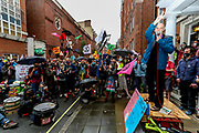 Hundreds of Extinction Rebellion climate protestors blocked Tufton Street, outside Tufton Court in central London on Wednesday, Sept 2, 2020. Over 90 people have been arrested so far as Extinction Rebellion protesters swarm central London. (VXP Photo/ Vudi Xhymshiti)
