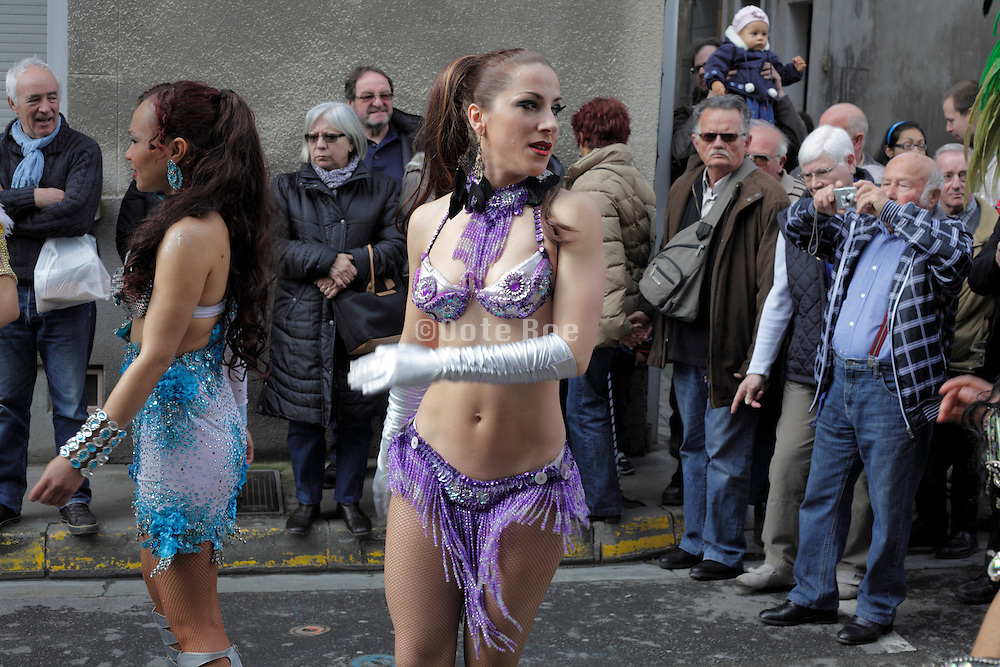 Brazilian style carnaval parade in rural France