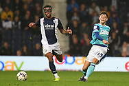 Derby County defender Dylan Williams (43) passes under pressure from West Bromwich Albion defender Darnell Furlong (2) during the EFL Sky Bet Championship match between West Bromwich Albion and Derby County at The Hawthorns, West Bromwich, England on 14 September 2021.