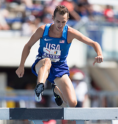 August 12, 2018 - Toronto, ON, U.S. - TORONTO, ON - AUGUST 12: Andy Bayer (USA), gold in 3000m steeple chase at the 2018 North America, Central America, and Caribbean Athletics Association (NACAC) Track and Field Championships on August 12, 2018 held at Varsity Stadium, Toronto, Canada. (Photo by Sean Burges / Icon Sportswire) (Credit Image: © Sean Burges/Icon SMI via ZUMA Press)