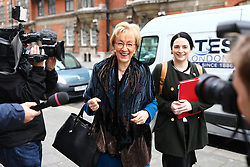 March 27, 2019 - London, London, UK - London, UK. House of Commons Leader Andrea Leadsom MP in Westminster this morning. MPs will hold a series of indicative votes on different Brexit options this evening. (Credit Image: © Rob Pinney/London News Pictures via ZUMA Wire)