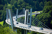 New road suspension bridge at Klosters in Graubunden region, Switzerland