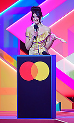 Dua Lipa accepts the award for Best Album during the Brit Awards 2021 at the O2 Arena, London. Picture date: Tuesday May 11, 2021.