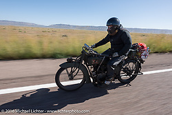Kyle Rose of Utah riding his 1916 Excelsior during the Motorcycle Cannonball Race of the Century. Stage-13 ride from Williams, AZ to Lake Havasu CIty, AZ. USA. Friday September 23, 2016. Photography ©2016 Michael Lichter.