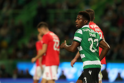 February 3, 2019 - Lisbon, Portugal - Sporting's forward Abdoulay Diaby from Mali celebrates after scoring a goal during the Portuguese League football match Sporting CP vs SL Benfica at Alvalade stadium in Lisbon, Portugal on February 3, 2019. (Credit Image: © Pedro Fiuza/NurPhoto via ZUMA Press)