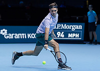 Tennis - 2017 Nitto ATP Finals at The O2 - Day One<br /> <br /> Group Boris Becker Singles: Roger Federer (Switzerland) vs. Jack Sock (USA)<br /> <br /> Roger Federer (Switzerland) returns a low shot from Jack Sock (United States) at the O2 Arena<br /> <br /> COLORSPORT/DANIEL BEARHAM