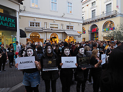 November 3, 2018 - Athens, Attiki, Greece - Animal Rights activist group Anonymous for the Voiceless members gather in Athens, to take part in the International Cube Day an event against animal abuse. (Credit Image: © George Panagakis/Pacific Press via ZUMA Wire)