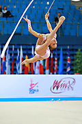 Soldatova Alexandra during qualifying at ribbon in Pesaro World Cup at Adriatic Arena on April 11, 2015. Alexandra was born in Pushkino on June 01,1998. She is a rhythmic gymnast member of the Russian National Team. Her nickname for the friends is Sasha.