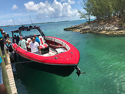The Foxy Express, a luxury powerboat, arrives in North Eleuthera in the Bahamas ferrying 17 passengers, including a baby from Abaco. It is among 14 boats that have been voluntarily taking victims of Hurricane Dorian to safe haven. Photo by Jacqueline Charles/Miami Herald/TNS/ABACAPRESS.COM