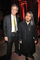 Left to right, MARK JONES Director of the V&A Museum and YOHJI YAMAMOTO at a private view to celebrate the opening of the V&A's exhibition of Yohji Yamamoto fashion designs held on 10th March 2011.