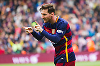 10 FC Barcelona player Leo Messi (Argentina) celebrating the first goal of the match during the match between FC Barcelona vs RCD Espanyol of Spanish Liga BBVA. Played on Camp Nou Stadium. On the 8th of May of 2016, Barcelona, Spain, Photo Xavi Bonilla / DPPI
