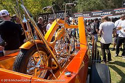 Dalton Walker's Split Image Kustoms Pre-unit Triumph in matching custom hotrod at the Born Free Motorcycle Show-8 at Oak Canyon Ranch. Silverado, CA, USA. Saturday June 25, 2016.  Photography ©2016 Michael Lichter.