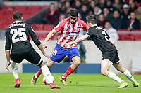 Atletico de Madrid's Diego Costa (c) and Sevilla FC's Gabriel Mercado (l) and Sebastien Corchia during Spanish Kings Cup, Quarter finals, first leg match. January 17,2018. (ALTERPHOTOS/Acero)