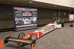 CHARLOTTE, NC, USA - November 11, 2015: BRAKES Teen Pro Active Driving School dragster on display during the 2015 Charlotte International Auto Show at the Charlotte Convention Center in downtown Charlotte.