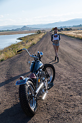 Kiley Garcia with Stacey McCleary's 1948 Panhead for Easyriders. Sunday September 19, 2021. Photography ©2021 Michael Lichter.