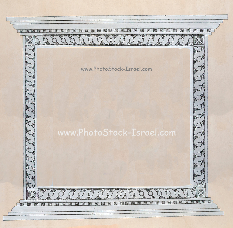 Intricate wall decoration repeating design as an empty square frame