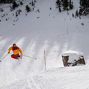 Forrest Jillson grabs a quick inbounds air at Jackson Hole Mountain Resort.