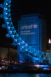 London, December 31st 2016. Ahead of the fireworks welcoming the new year, Shell House is illuminated in blue as part of UNICEF's Resolution for Children.