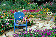 63821-08012 Cut bouquet in basket on blue chair in flower garden  Marion Co.  IL