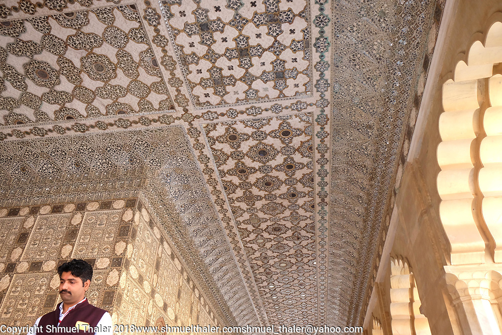 Palace of Mirrors in the Amber Palace, Jaipur, India.<br /> Photo by Shmuel Thaler <br /> shmuel_thaler@yahoo.com www.shmuelthaler.com