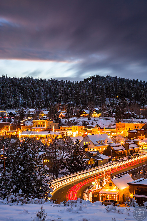 """""""Downtown Truckee 22"""" - Photograph of historic Downtown Truckee, California, shot at dusk."""