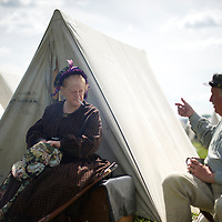 Donna Elliot, from Toronto, converses in camp during the Chancellorsville 150th reenactment in Spotsylvania, VA on May 4, 2013.