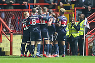 GOAL 1-2. Doncaster Rovers defender Andrew Butler (6) celebrates with teammates after scoring a goal during the EFL Sky Bet League 1 second leg Play-Off match between Charlton Athletic and Doncaster Rovers at The Valley, London, England on 17 May 2019.