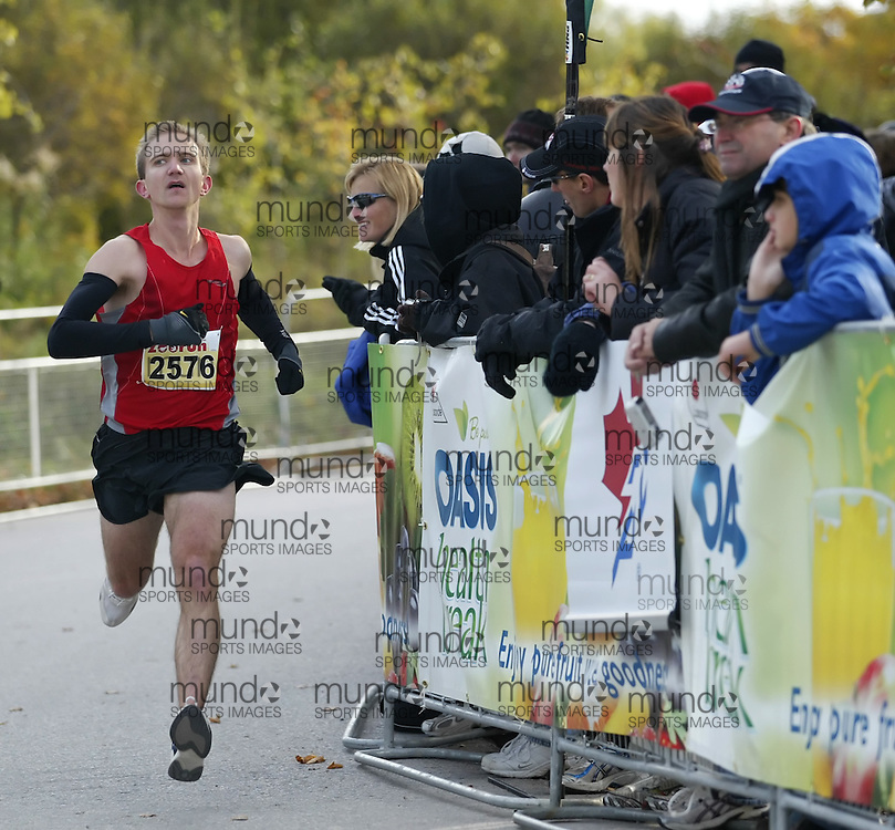 """(Toronto, Ontario -- 17 Oct 2009) MICHAEL KING competing in the 2009 OASIS Zoo Run 10K run and Athletics Canada national 10 km road racing championship at the Toronto Zoo. [Photo credit should read """"Sean Burges / Mundo Sport Images""""]"""