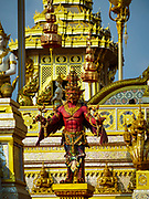 """13 DECEMBER 2017 - BANGKOK, THAILAND:  A """"garuda"""" at the Royal Crematorium on Sanam Luang in Bangkok. The crematorium was used for the funeral of Bhumibol Adulyadej, the Late King of Thailand. He was cremated on 26 October 2017. The crematorium is open to visitors until 31 December 2017. It will be torn down early in 2018. More than 3 million people have visited the crematorium since it opened to the public after the cremation of the King.    PHOTO BY JACK KURTZ"""
