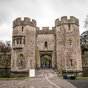 The main fortified entry gate at the Bishop Palace in Wells, Somerset, England.