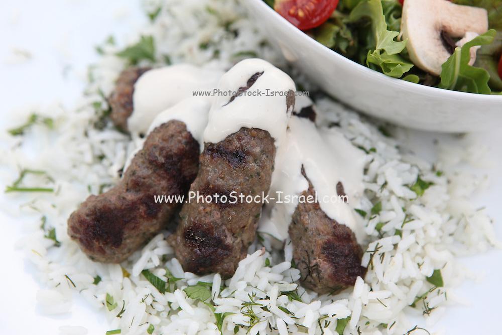 Kebab with tahini and salad