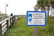 Walkway to Gulf beach.  Clearwater Beach Tampa Bay Area Florida USA