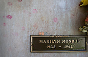 Marilyn Monroe Grave with lipstick kisses, Westwood Memorial Cemetery, Los Angles, California, USA