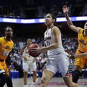 Kia Nurse, UConn, in action during the UConn Huskies Vs East Carolina Pirates Quarter Final match at the  2016 American Athletic Conference Championships. Mohegan Sun Arena, Uncasville, Connecticut, USA. 5th March 2016. Photo Tim Clayton