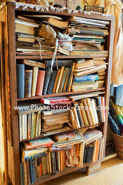 Bookshelf stuffed with old books
