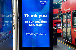 © Licensed to London News Pictures. 27/03/2020. London, UK. A 'Thank you to our amazing NHS staff' digital display at a bus stop in north London, showing appreciation to the NHS staff. Photo credit: Dinendra Haria/LNP
