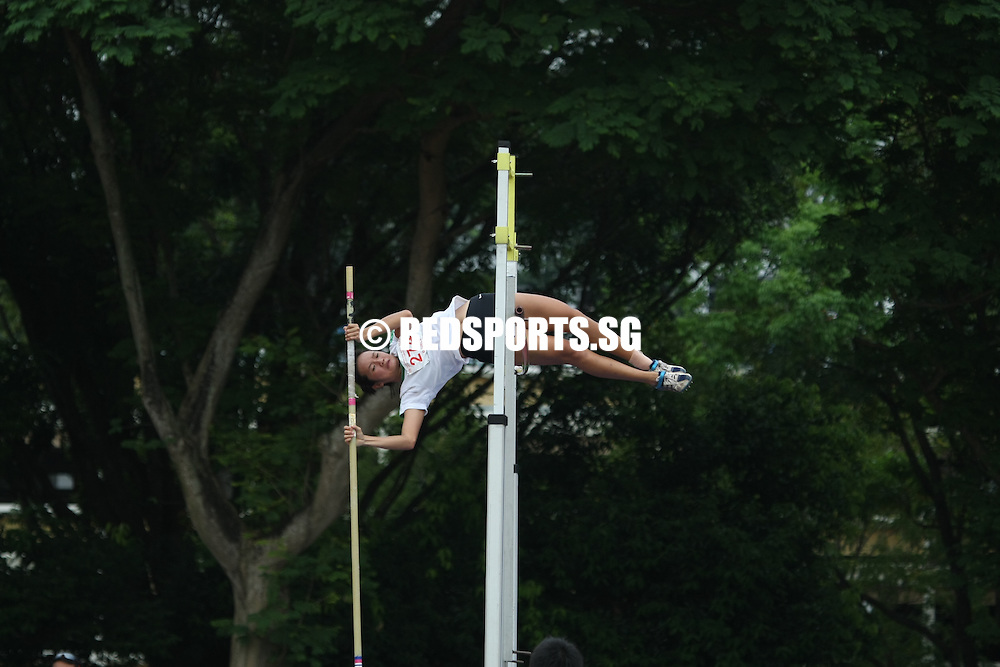 Choa Chu Kang Stadium, Monday, April 8, 2013 — Chang An Zi of Geylang Methodist School (Secondary) struck gold in the Open Division pole vault at the 54th National Schools Track and Field Championships. She topped off her win with a new personal best of 3.13 meters.<br /> <br /> Story: http://www.redsports.sg/2013/04/11/open-division-pole-vault-girls-chang-an-zi-geylang-methodist/