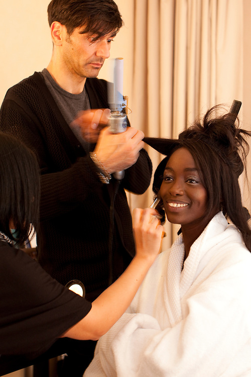 Cannes, France. May 13th 2010..French actress Aissa Maiga getting ready at the Gray d'Albion Hotel.