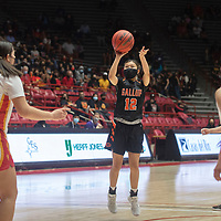 Gallup Bengal Kennedy Smiley (12) lines up for a jump shot against the Espanola Valley Sundevils during the New Mexico Class 4A girls basketball championship game at The Pit in Albuquerque Saturday. The Bengals defeated the Sundevils 63-51 to become New Mexico Class 4A state champions.
